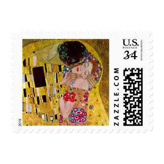 El beso de Gustavo Klimt arte Nouveau del vintage Franqueo