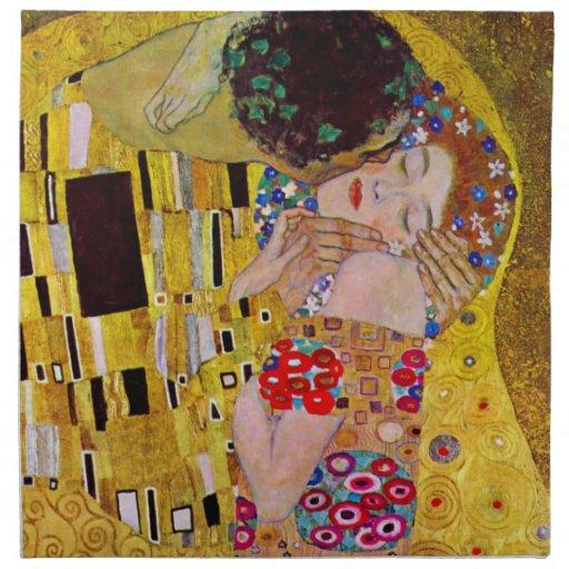 El beso de Gustavo Klimt, arte Nouveau del vintage Servilleta De Papel