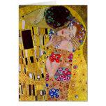 El beso de Gustavo Klimt, arte Nouveau del vintage Tarjetón