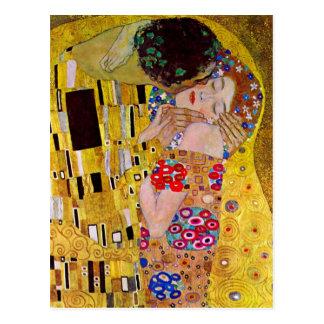 El beso de Gustavo Klimt arte Nouveau del vintage Postales