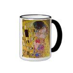 El beso de Gustavo Klimt, arte Nouveau del vintage Tazas De Café