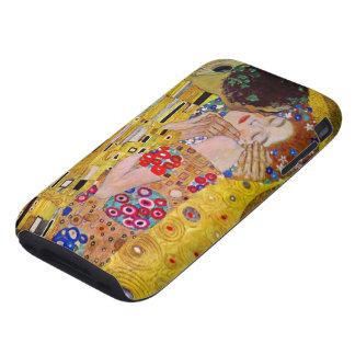 El beso de Gustavo Klimt, arte Nouveau del vintage Tough iPhone 3 Fundas