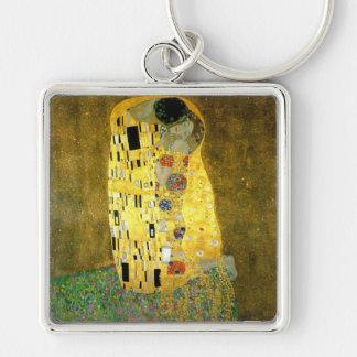 El beso de Gustavo Klimt Llavero Cuadrado Plateado