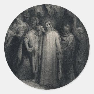 El beso de Judas de Gustavo Dore Pegatina Redonda
