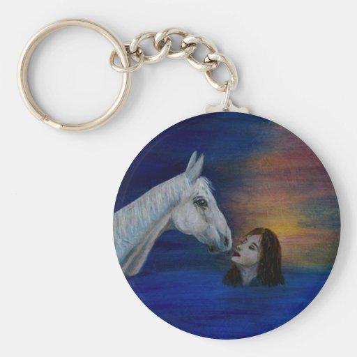 El beso de la intuición, amantes del caballo llavero redondo tipo pin