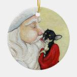 El beso de Santa para el ornamento del arte de la Adorno Navideño Redondo De Cerámica