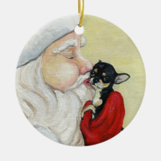 El beso de Santa para el ornamento del arte de la Adorno Redondo De Cerámica