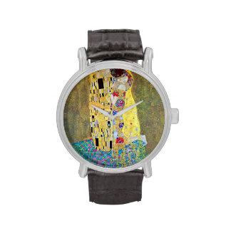 El beso (Der Kuss) por Gustavo Klimt, arte Nouveau Relojes