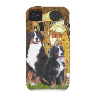 El beso - dos perros de montaña de Bernese Vibe iPhone 4 Fundas