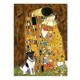 El beso - fox terrier liso postal