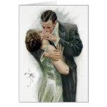 El beso, par del vintage tarjetas