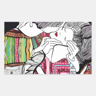 El beso pegatina rectangular