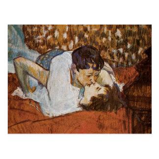 El beso - por Enrique de Toulouse-Lautrec Tarjeta Postal