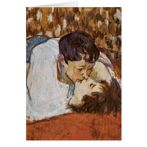 El beso - por Enrique de Toulouse-Lautrec Tarjetón