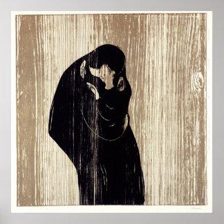 El beso por la litografía de Edvard Munch, Póster