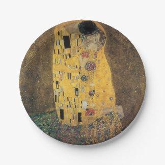 El beso, reproducción, pintura de Gustavo Klimt, Platos De Papel