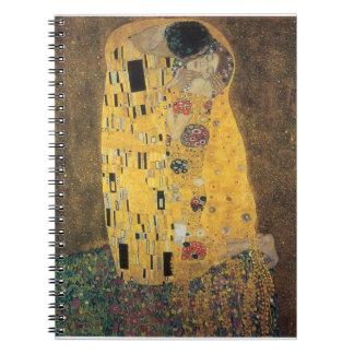 El beso, reproducción, pintura de Gustavo Klimt, Spiral Notebooks
