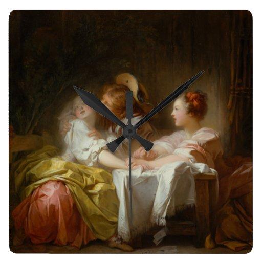 El beso robado - Jean Honoré Fragonard Reloj Cuadrado