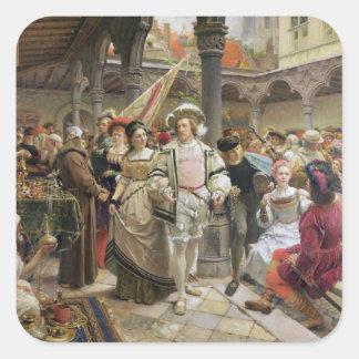 El Beurs viejo en Amberes, 1892 Pegatina Cuadrada