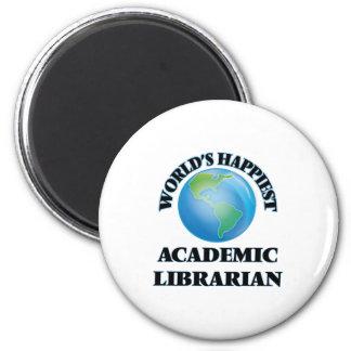 El bibliotecario académico más feliz del mundo imán redondo 5 cm