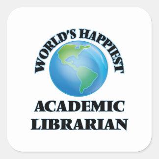 El bibliotecario académico más feliz del mundo pegatina cuadrada