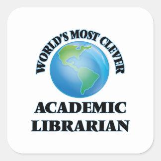 El bibliotecario académico más listo del mundo pegatina cuadrada