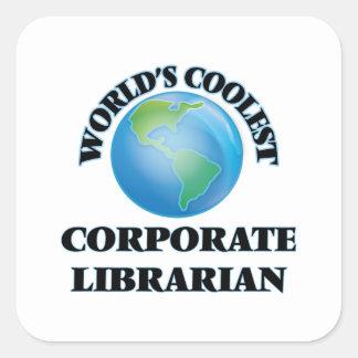 El bibliotecario corporativo más fresco del mundo pegatina cuadrada