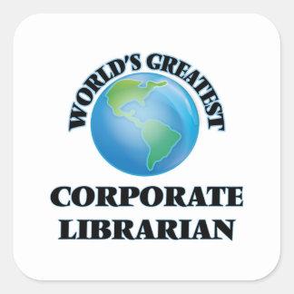 El bibliotecario corporativo más grande del mundo pegatina cuadrada