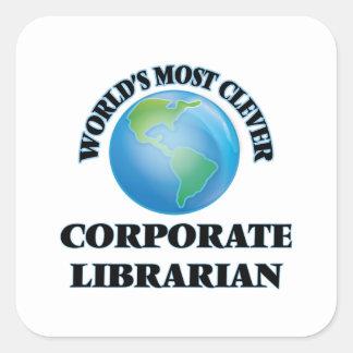 El bibliotecario corporativo más listo del mundo pegatina cuadrada