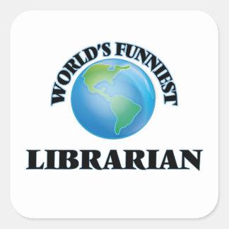 El bibliotecario más divertido del mundo pegatina cuadrada
