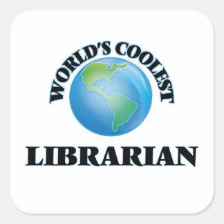 El bibliotecario más fresco del mundo pegatina cuadrada