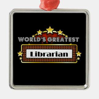 El bibliotecario más grande del mundo adorno navideño cuadrado de metal