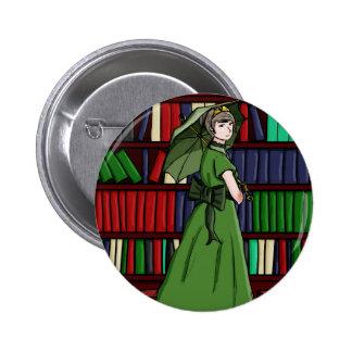 El bibliotecario pin redondo de 2 pulgadas