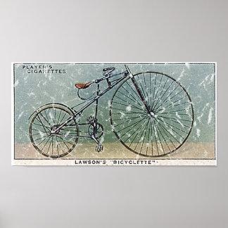 El Bicyclette-1879 de Lawson - apenado Póster