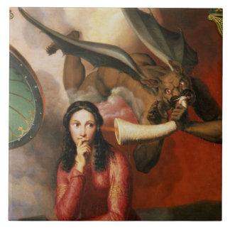 El bien y el mal: el diablo que tienta a una mujer azulejo cuadrado grande
