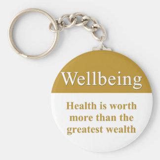 El bienestar es mayor que riqueza llavero personalizado