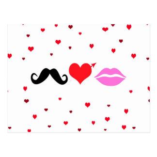 El bigote ama los labios tarjeta postal