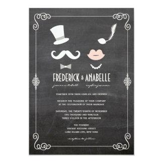 El bigote de la pizarra y el boda del vintage de invitación