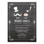El bigote de la pizarra y el boda del vintage de l invitación