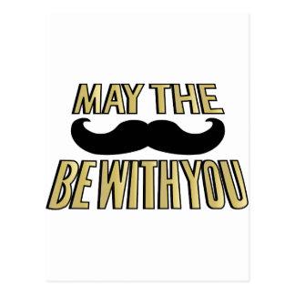 El bigote divertido mayo el stache esté con usted postal