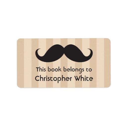 El bigote en marrón raya bookplates/etiquetas del  etiquetas de dirección