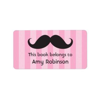 El bigote en rosa raya bookplates o etiquetas del  etiquetas de dirección