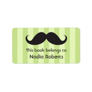 El bigote en verde raya bookplates/etiquetas del l etiquetas de dirección