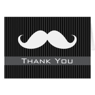El bigote le agradece con las rayas negras grises  tarjetón