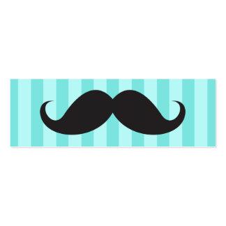 El bigote negro de la diversión en la aguamarina r tarjetas de visita mini