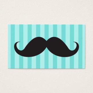 El bigote negro de la diversión en la aguamarina tarjeta de negocios