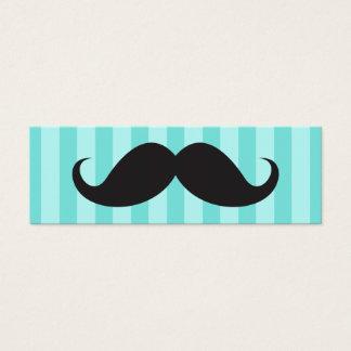 El bigote negro de la diversión en la aguamarina tarjeta de visita pequeña