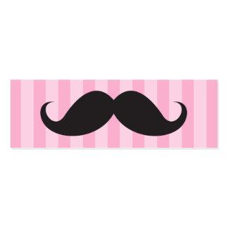 El bigote negro de la diversión en rosa raya la ta tarjetas de visita mini