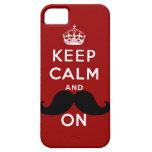 El bigote negro divertido guarda calma iPhone 5 Case-Mate funda