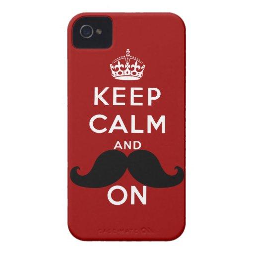 El bigote negro divertido guarda calma Case-Mate iPhone 4 protector